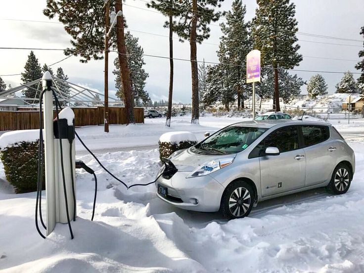 electric car plugged in in snow