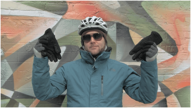 Patrick deRochie gloves and eye protection winter cycling