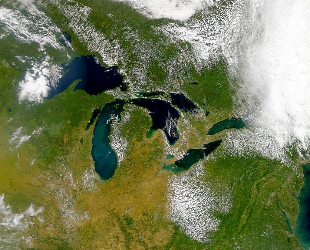 A view of the Great Lakes from SeaWiFS satellite. True color. Satellite: OrbView-2. Sensor: SeaWiFS. Image Date: 9-17-1999. Image from NASA Visible Earth web site: http://visibleearth.nasa.gov For research and educational purposes only. Permission required from Orbimage for commercial use, http://www.orbimage.com.