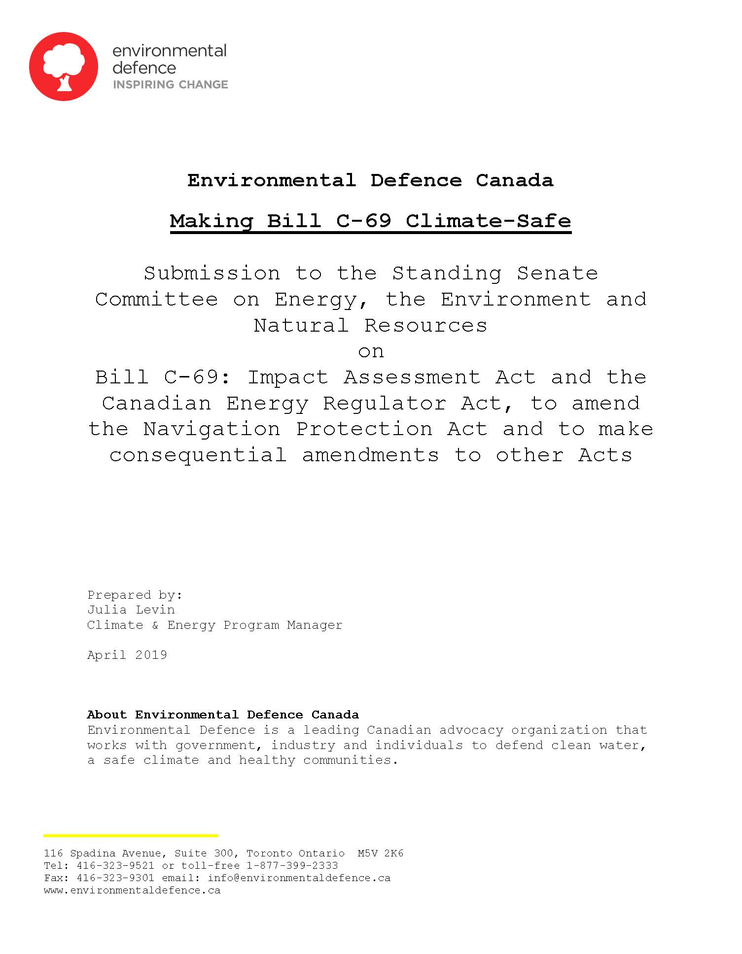The cover of Environmental Defence's submission to the Senate on Bill C-69