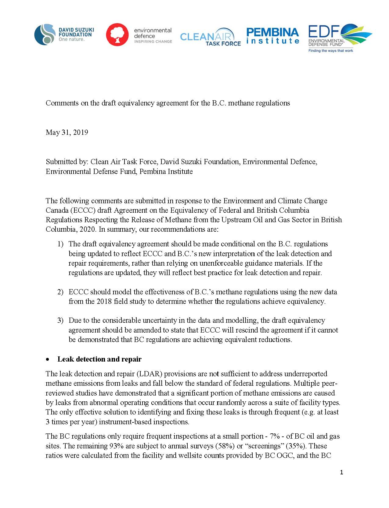 The cover of Environmental Defence's joint submission on granting BC methane regulations equivilancy