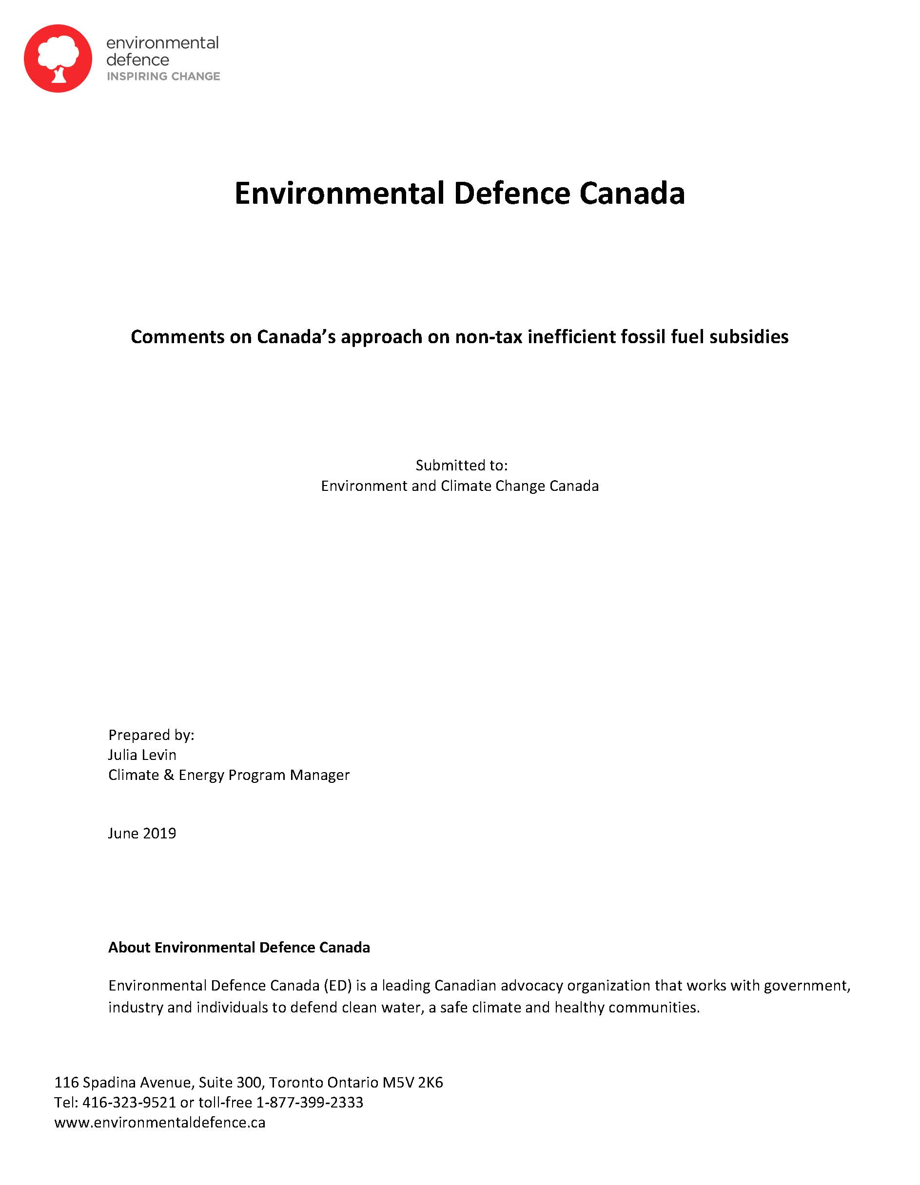 The cover of Environmental Defence's submission on non-tax subsidies that support the oil and gas industry