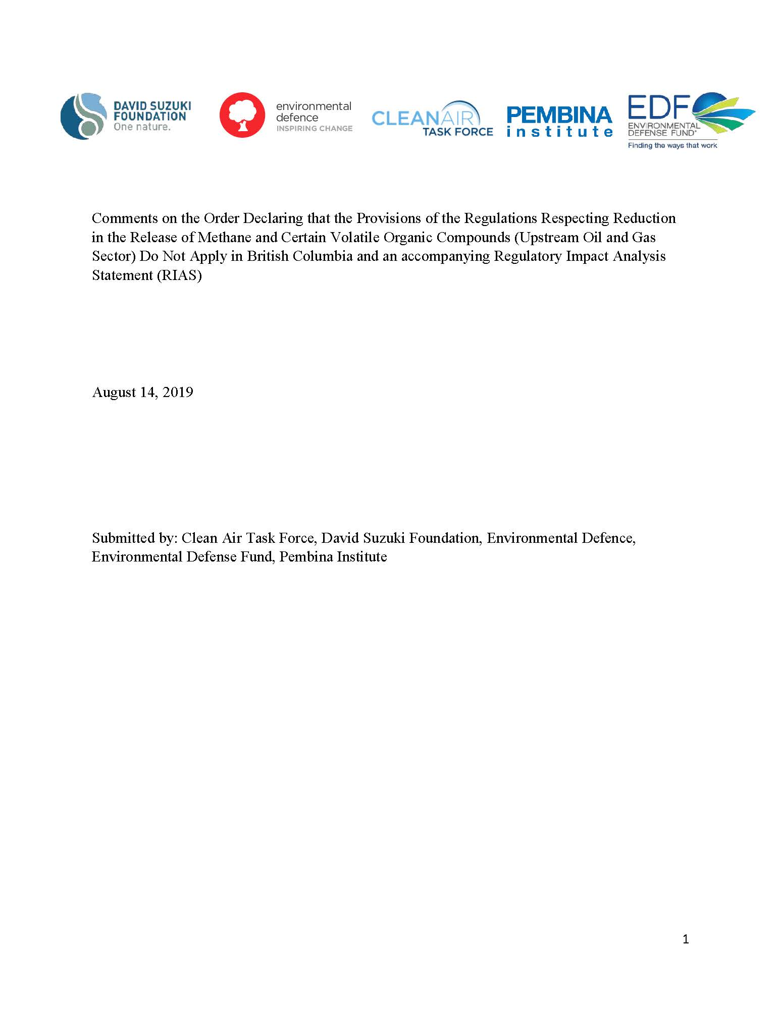 Cover of NGO comments on proposed methane equivalency agreement with BC