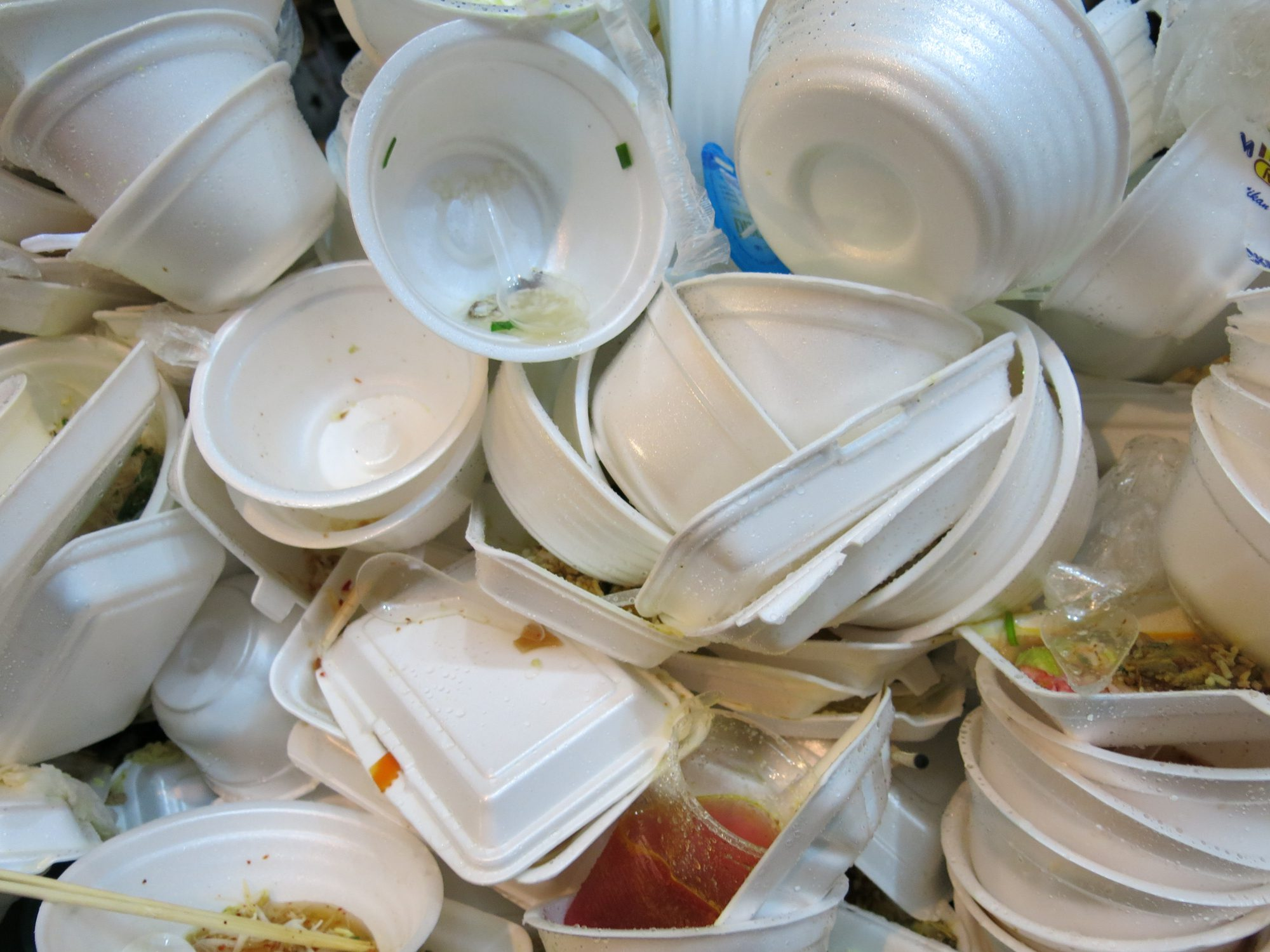 Bangkok, Thailand – November 9, 2013: Litter of Foam food containers in the garbage bins near the area of anti-government rally in Bangkok, Thailand.