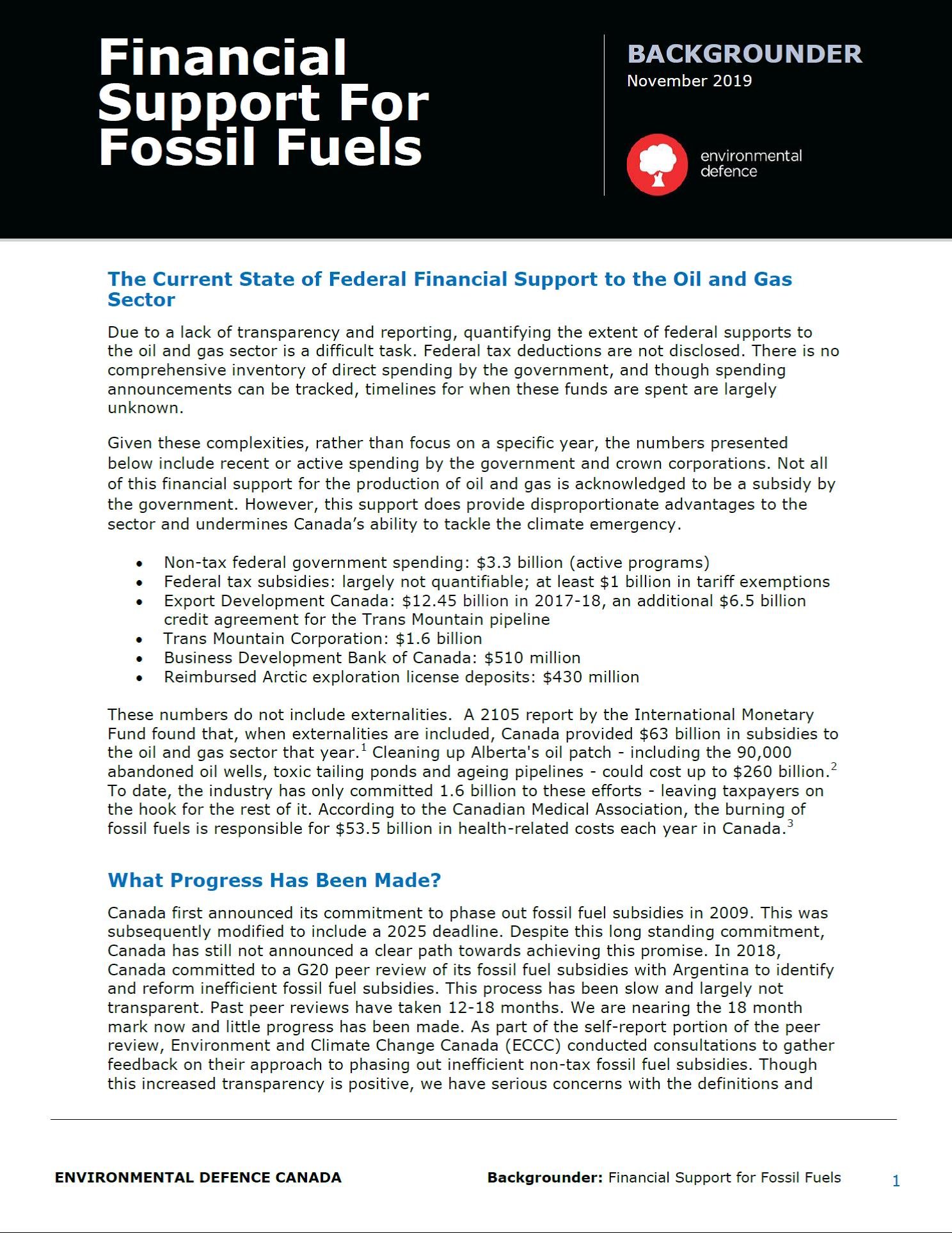 The cover of Environmental Defence's backgrounder on federal fossil fuel subsidies