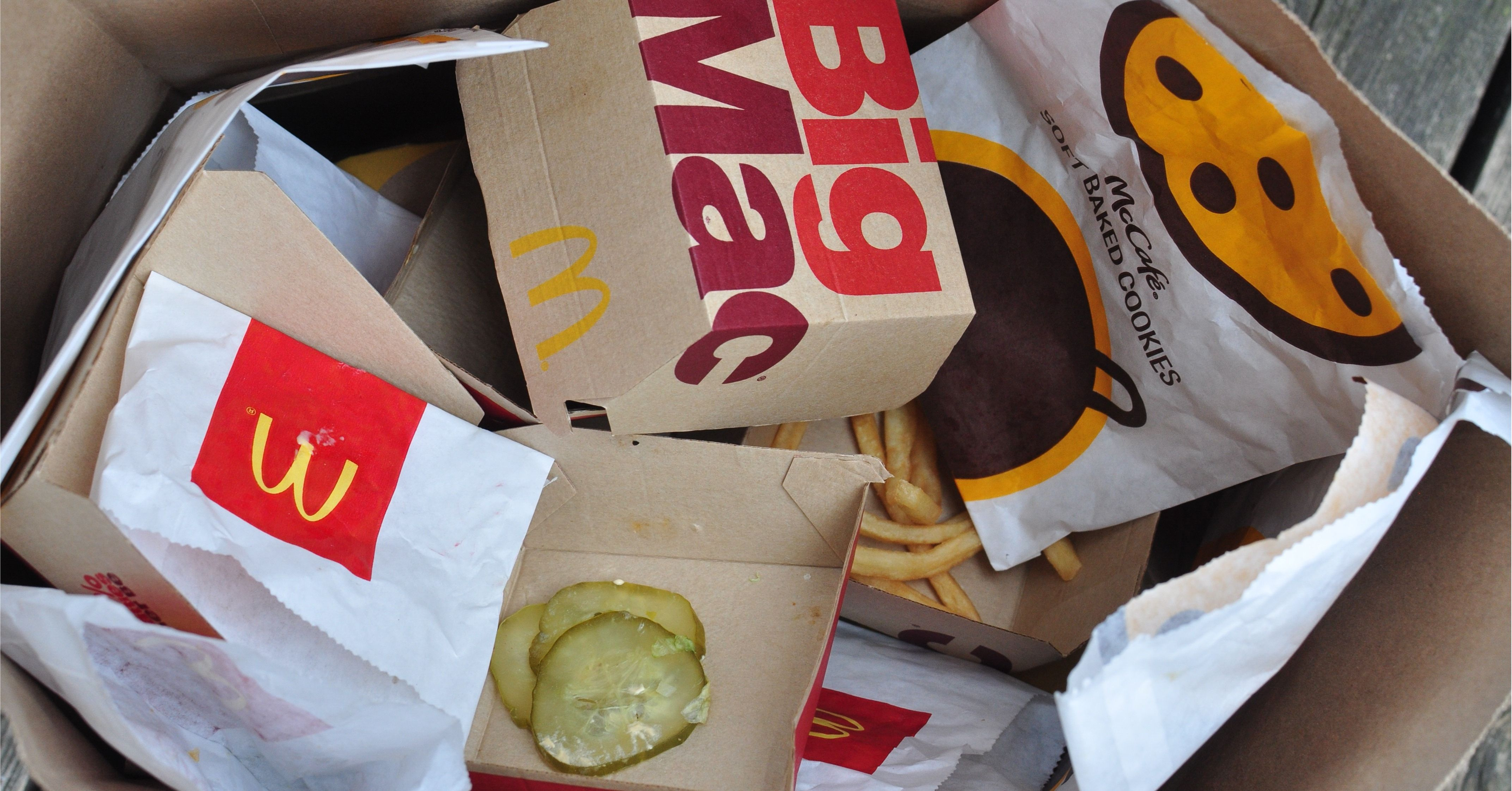 Trash of McDonalds items that tested positive for PFAS