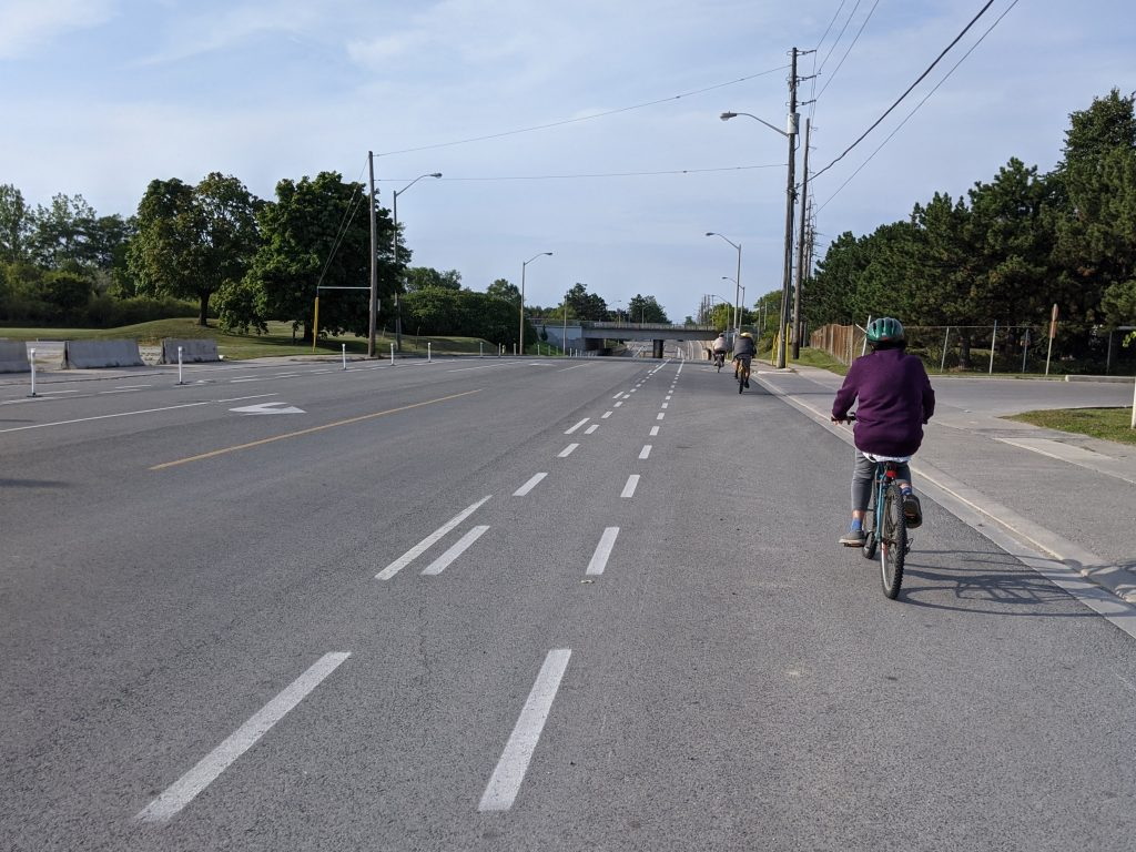 Cycling on Brimley Ave. in Scarborough. Photo by Ry Shissler, courtesy of Cycle Toronto