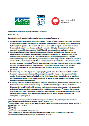 Cover of the letter to ECCC regarding forestry and OBPS, featuring the logos of Environmental Defence, NDRC, and Nature Canada