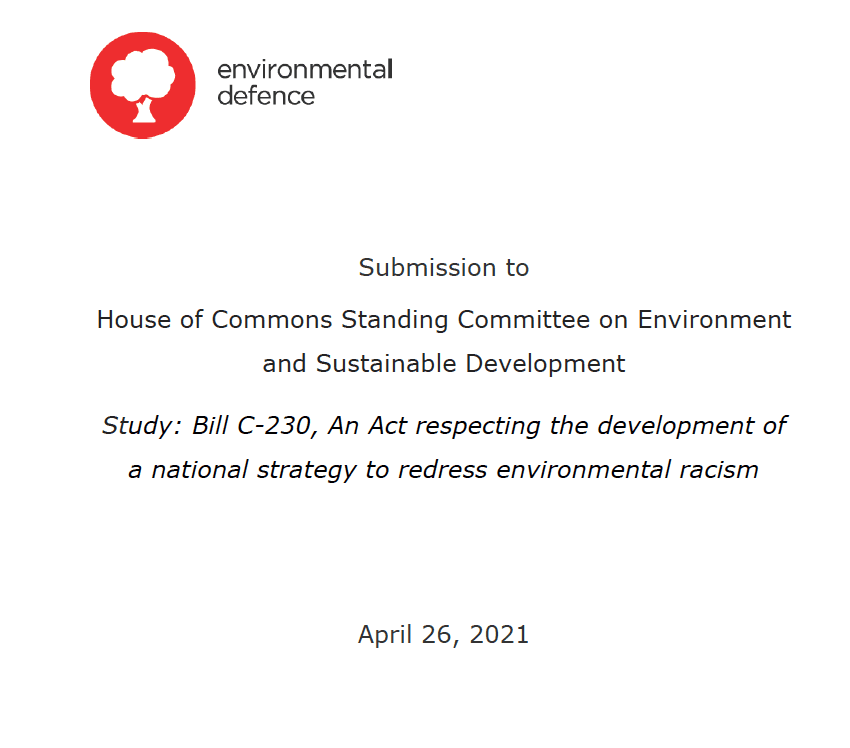 Government submission on Bill C-230